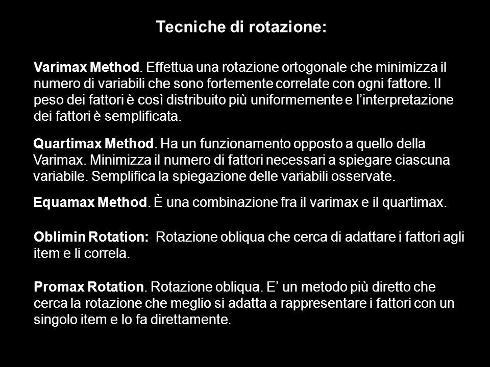 Varimax Method. Effettua una rotazione ortogonale che minimizza il numero di variabili che sono fortemente correlate con ogni fattore. Il peso dei fat