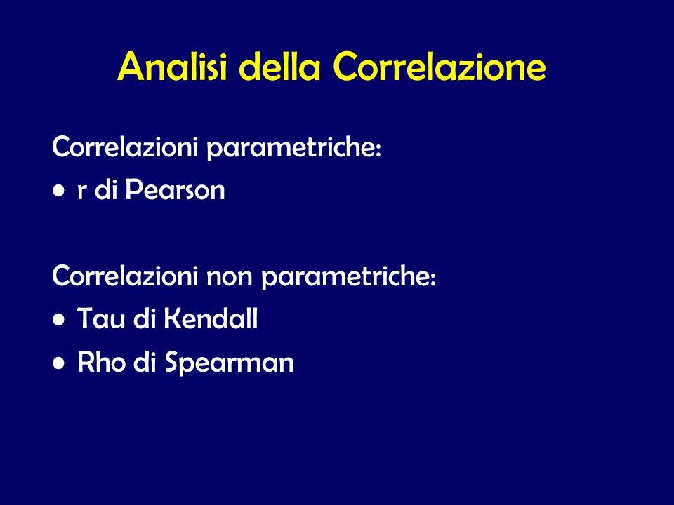 Analisi della Correlazione Correlazioni parametriche: r di Pearson Correlazioni non parametriche: Tau di Kendall Rho di Spearman