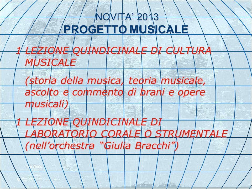 NOVITA 2013 PROGETTO MUSICALE NOVITA 2013 PROGETTO MUSICALE 1 LEZIONE QUINDICINALE DI CULTURA MUSICALE (storia della musica, teoria musicale, ascolto