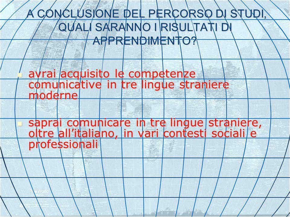 A CONCLUSIONE DEL PERCORSO DI STUDI, QUALI SARANNO I RISULTATI DI APPRENDIMENTO.