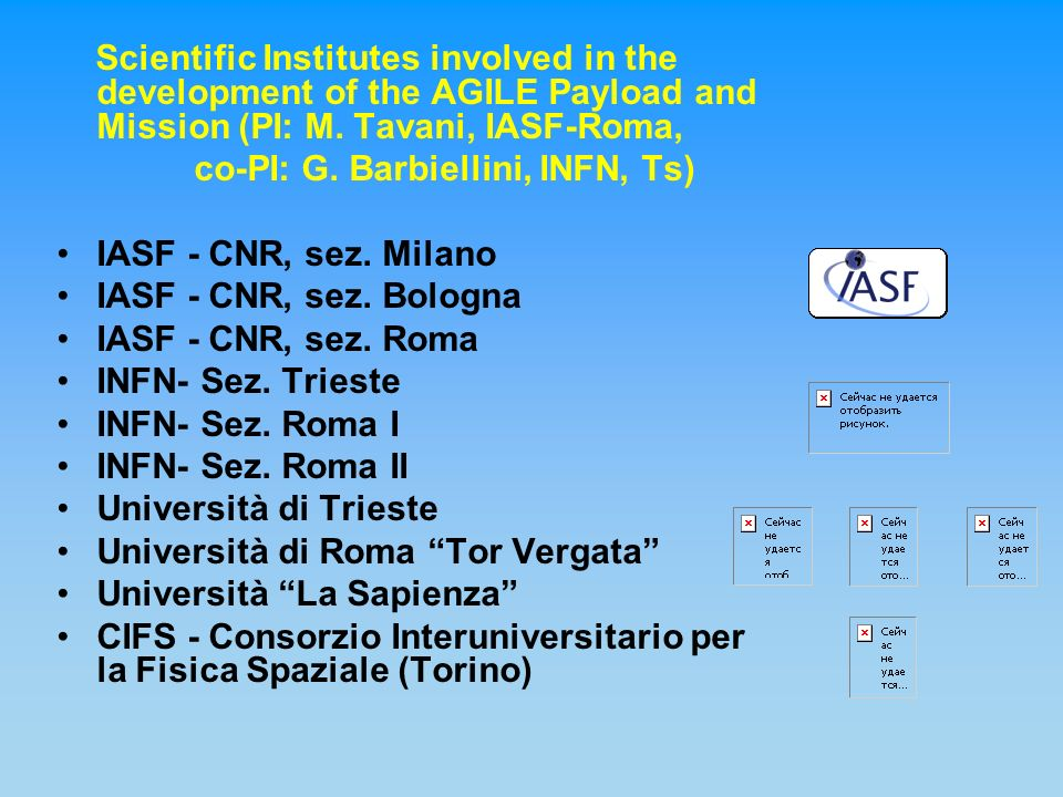 Scientific Institutes involved in the development of the AGILE Payload and Mission (PI: M.