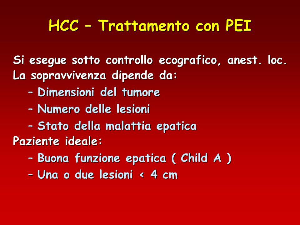 HCC – Trattamento con PEI Si esegue sotto controllo ecografico, anest. loc. La sopravvivenza dipende da: –Dimensioni del tumore –Numero delle lesioni