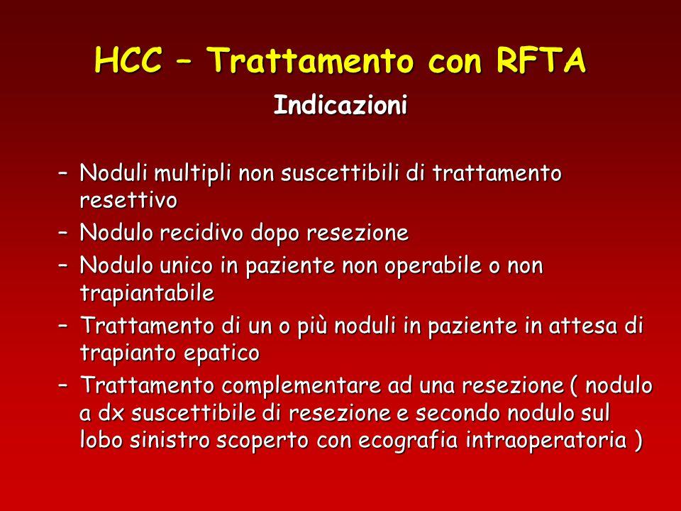 HCC – Trattamento con RFTA Indicazioni –Noduli multipli non suscettibili di trattamento resettivo –Nodulo recidivo dopo resezione –Nodulo unico in paz