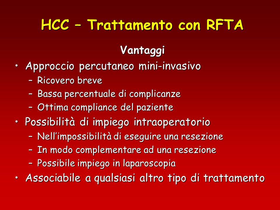 HCC – Trattamento con RFTA Vantaggi Approccio percutaneo mini-invasivoApproccio percutaneo mini-invasivo –Ricovero breve –Bassa percentuale di complic