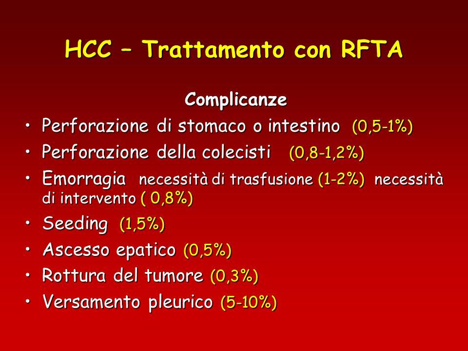 HCC – Trattamento con RFTA Complicanze Perforazione di stomaco o intestino (0,5-1%)Perforazione di stomaco o intestino (0,5-1%) Perforazione della col