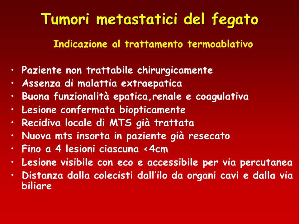 Tumori metastatici del fegato Indicazione al trattamento termoablativo Paziente non trattabile chirurgicamente Assenza di malattia extraepatica Buona