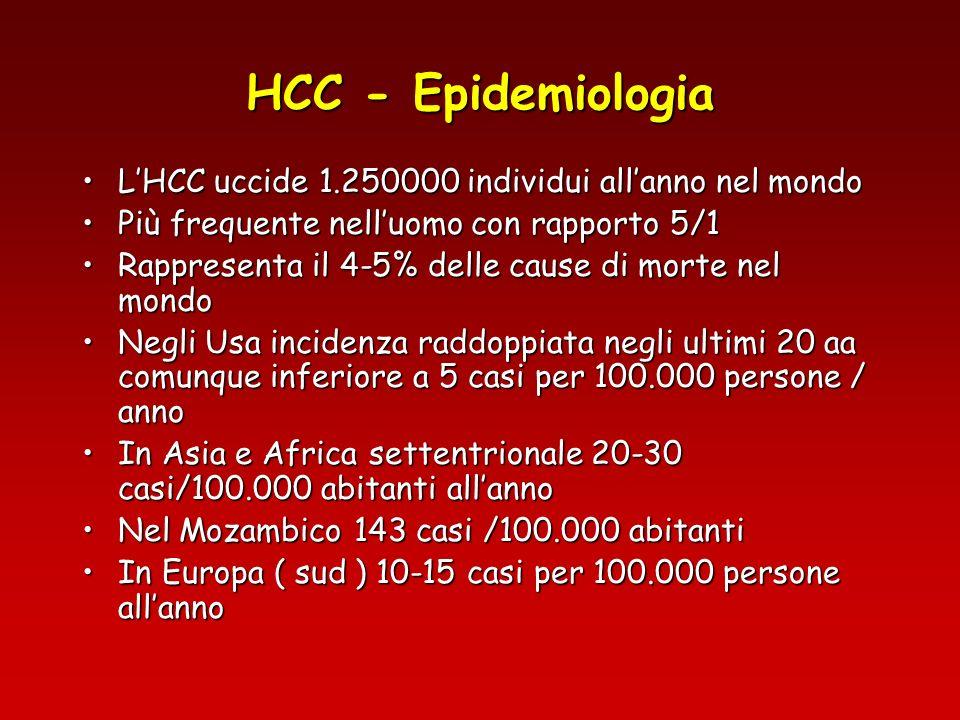 HCC - Epidemiologia LItalia rappresenta uno dei paesi europei con la più alta incidenza.