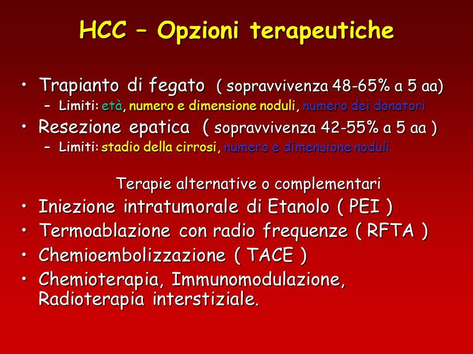 HCC – Trattamento con RFTA Complicanze Perforazione di stomaco o intestino (0,5-1%)Perforazione di stomaco o intestino (0,5-1%) Perforazione della colecisti (0,8-1,2%)Perforazione della colecisti (0,8-1,2%) Emorragia necessità di trasfusione (1-2%) necessità di intervento ( 0,8%)Emorragia necessità di trasfusione (1-2%) necessità di intervento ( 0,8%) Seeding (1,5%)Seeding (1,5%) Ascesso epatico (0,5%)Ascesso epatico (0,5%) Rottura del tumore (0,3%)Rottura del tumore (0,3%) Versamento pleurico (5-10%)Versamento pleurico (5-10%)