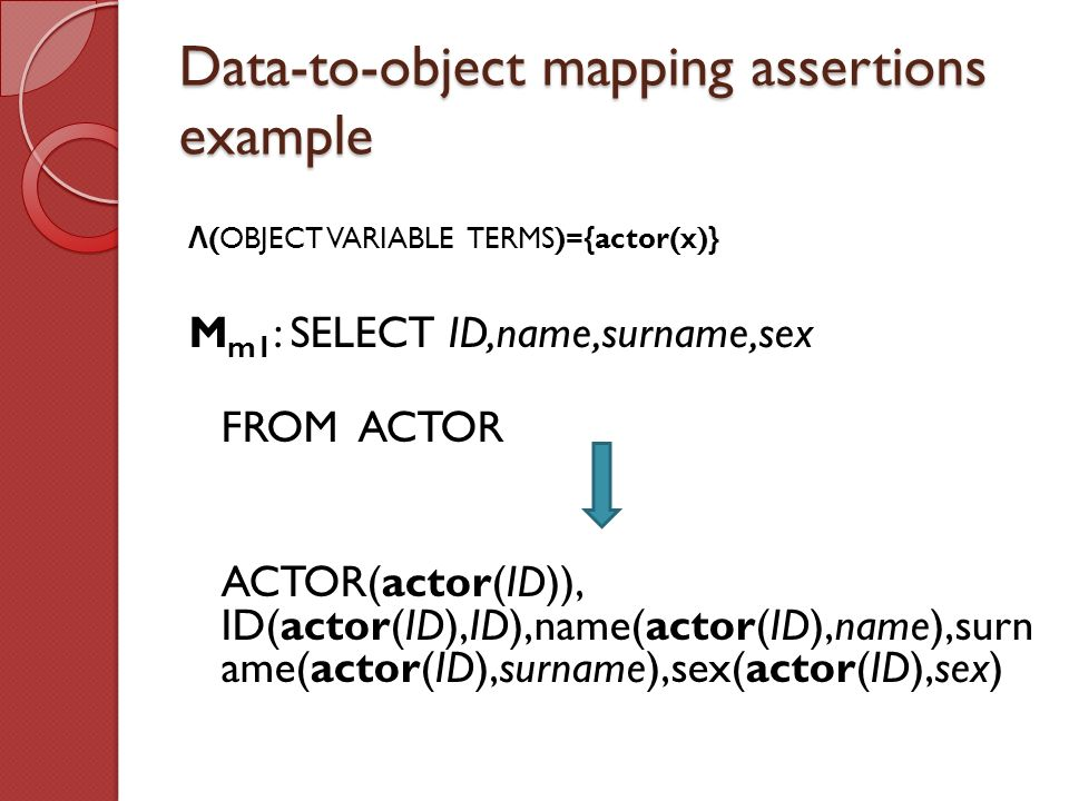 Data-to-object mapping assertions example Λ (OBJECT VARIABLE TERMS)={actor(x)} M m1 : SELECT ID,name,surname,sex FROM ACTOR ACTOR(actor(ID)), ID(actor