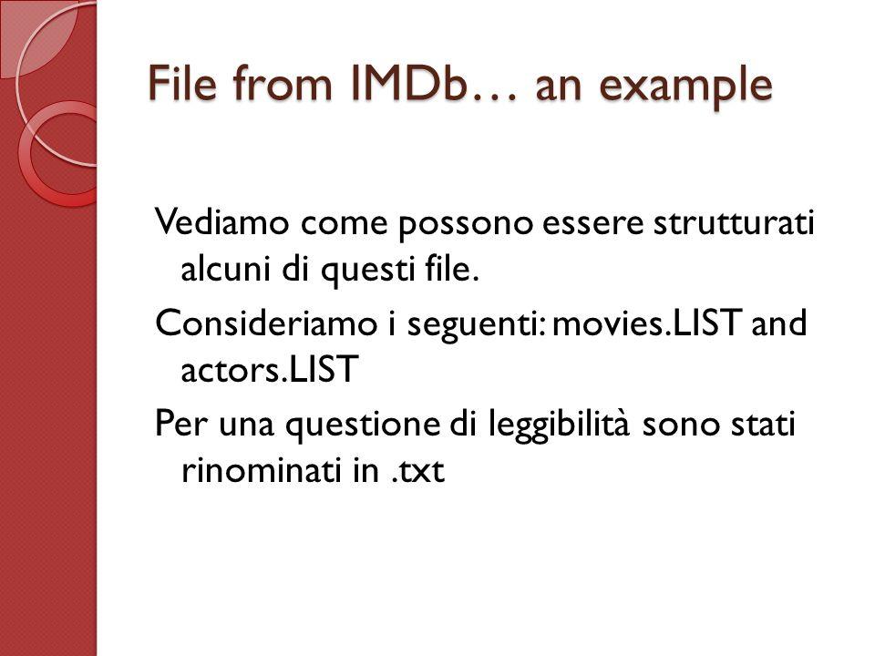 File from IMDb… an example Vediamo come possono essere strutturati alcuni di questi file. Consideriamo i seguenti: movies.LIST and actors.LIST Per una
