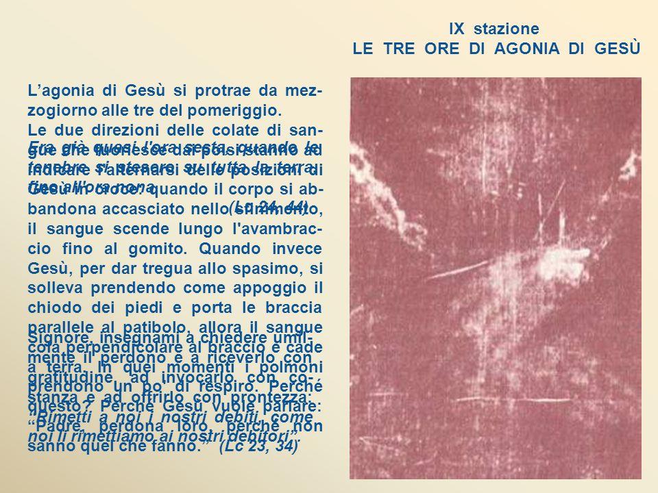 IX stazione LE TRE ORE DI AGONIA DI GESÙ Era già quasi l ora sesta, quando le tenebre si stesero su tutta la terra, fino all ora nona.