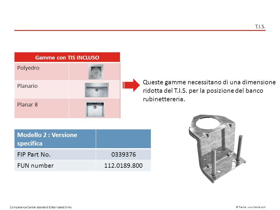 © Franke, www.franke.com Competence Center standard & fabricated Sinks T.I.S. Gamme con TIS INCLUSO Polyedro Planario Planar 8 Modello 2 : Versione sp