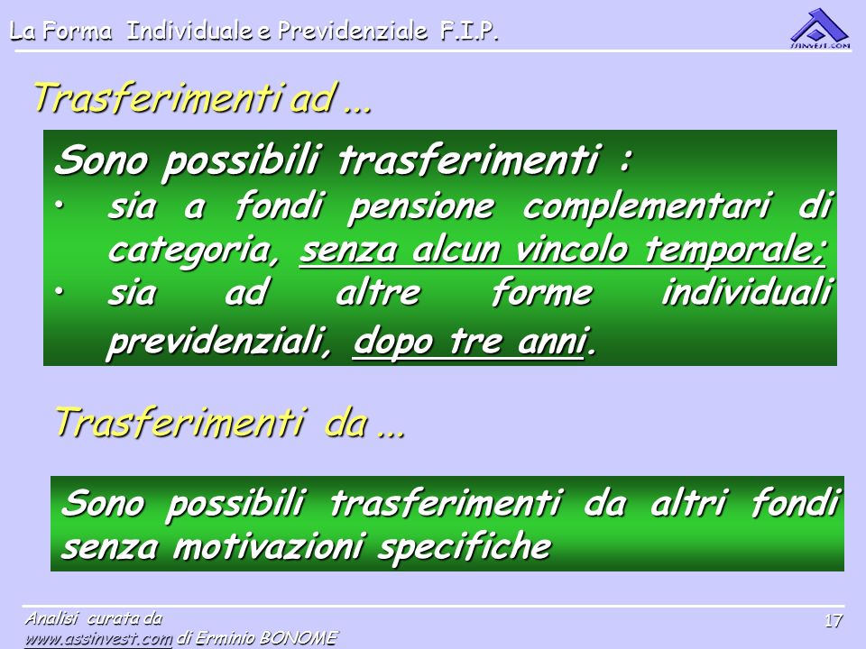 La Forma Individuale e Previdenziale F.I.P. Analisi curata da www.assinvest.comwww.assinvest.com di Erminio BONOME www.assinvest.com 17 Trasferimenti