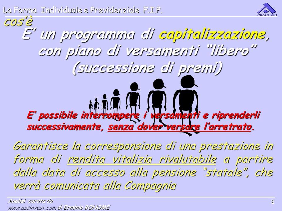 La Forma Individuale e Previdenziale F.I.P. Analisi curata da www.assinvest.comwww.assinvest.com di Erminio BONOME www.assinvest.com 2 cosè E un progr