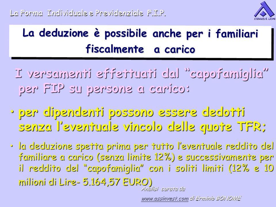 I versamenti effettuati dal capofamiglia per FIP su persone a carico: I versamenti effettuati dal capofamiglia per FIP su persone a carico: per dipend