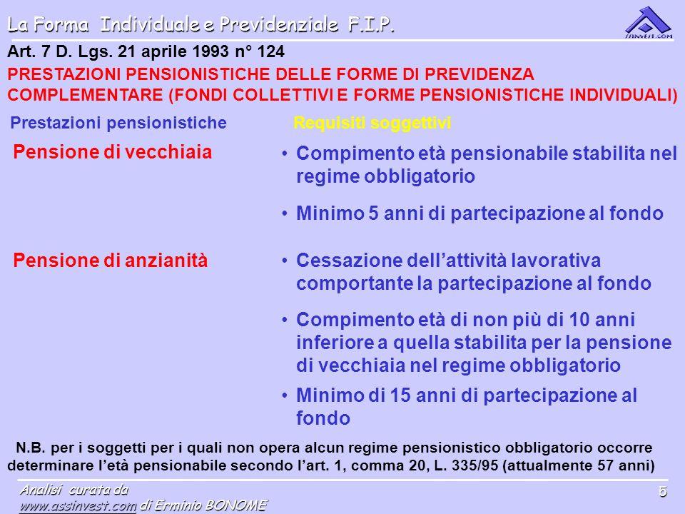 La Forma Individuale e Previdenziale F.I.P. Analisi curata da www.assinvest.comwww.assinvest.com di Erminio BONOME www.assinvest.com 5 Art. 7 D. Lgs.