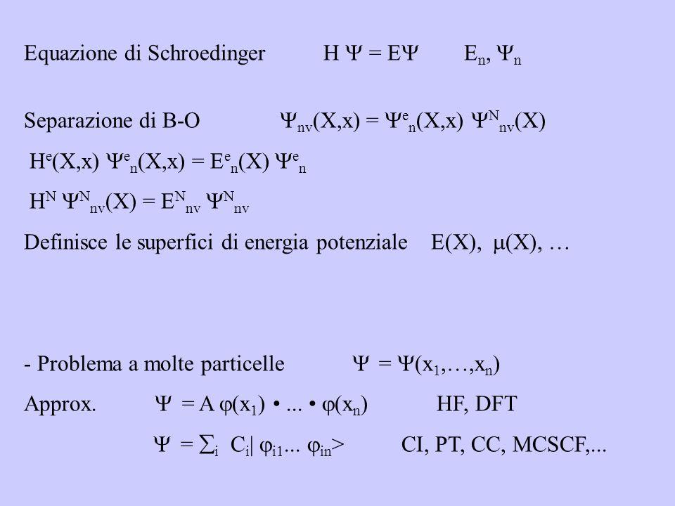Equazione di Schroedinger H = E E n, n Separazione di B-O nv (X,x) = e n (X,x) N nv (X) H e (X,x) e n (X,x) = E e n (X) e n H N N nv (X) = E N nv N nv Definisce le superfici di energia potenziale E(X), (X), … - Problema a molte particelle = (x 1,…,x n ) Approx.