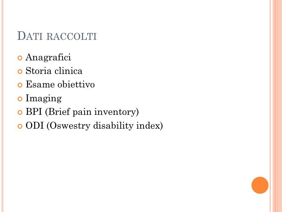 D ATI RACCOLTI Anagrafici Storia clinica Esame obiettivo Imaging BPI (Brief pain inventory) ODI (Oswestry disability index)