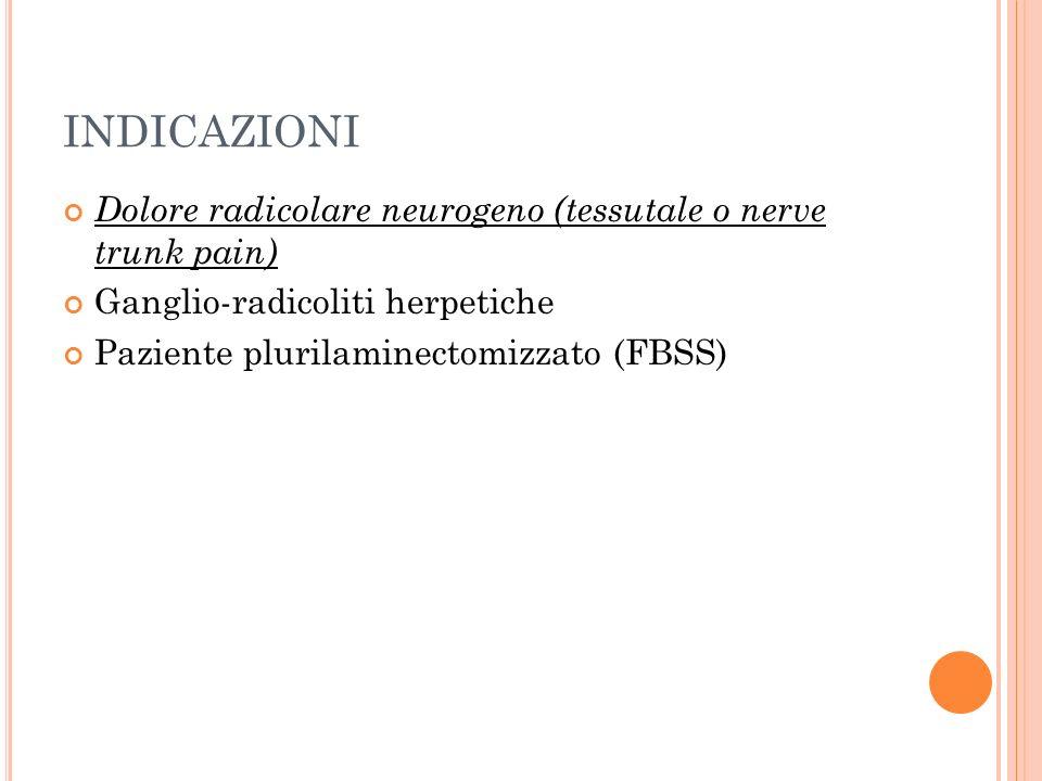 INDICAZIONI Dolore radicolare neurogeno (tessutale o nerve trunk pain) Ganglio-radicoliti herpetiche Paziente plurilaminectomizzato (FBSS)