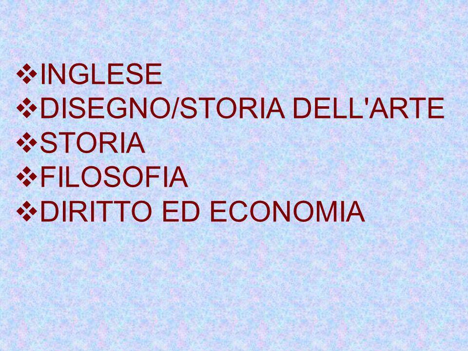 INGLESE DISEGNO/STORIA DELL ARTE STORIA FILOSOFIA DIRITTO ED ECONOMIA