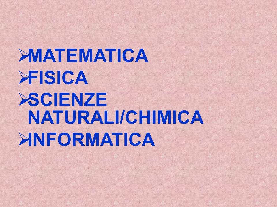 MATEMATICA FISICA SCIENZE NATURALI/CHIMICA INFORMATICA