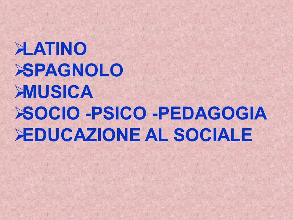 LATINO SPAGNOLO MUSICA SOCIO -PSICO -PEDAGOGIA EDUCAZIONE AL SOCIALE