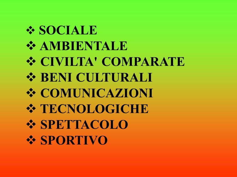 SOCIALE AMBIENTALE CIVILTA COMPARATE BENI CULTURALI COMUNICAZIONI TECNOLOGICHE SPETTACOLO SPORTIVO
