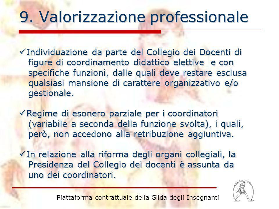 9. Valorizzazione professionale Individuazione da parte del Collegio dei Docenti di figure di coordinamento didattico elettive e con specifiche funzio