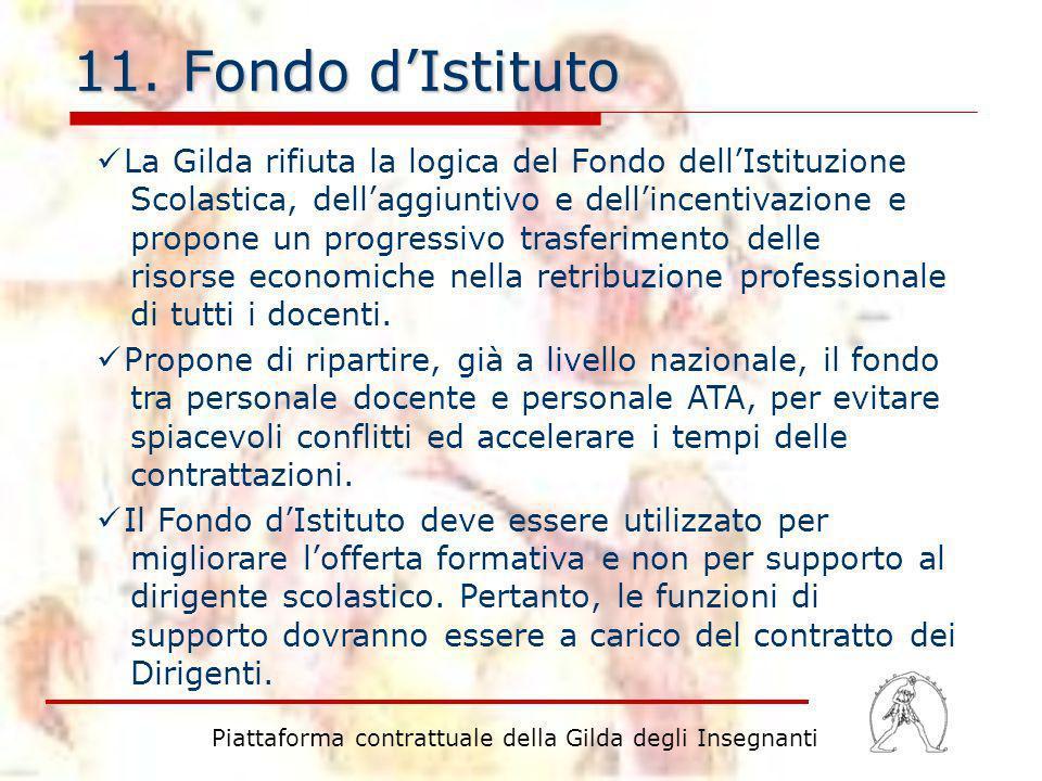 11. Fondo dIstituto La Gilda rifiuta la logica del Fondo dellIstituzione Scolastica, dellaggiuntivo e dellincentivazione e propone un progressivo tras