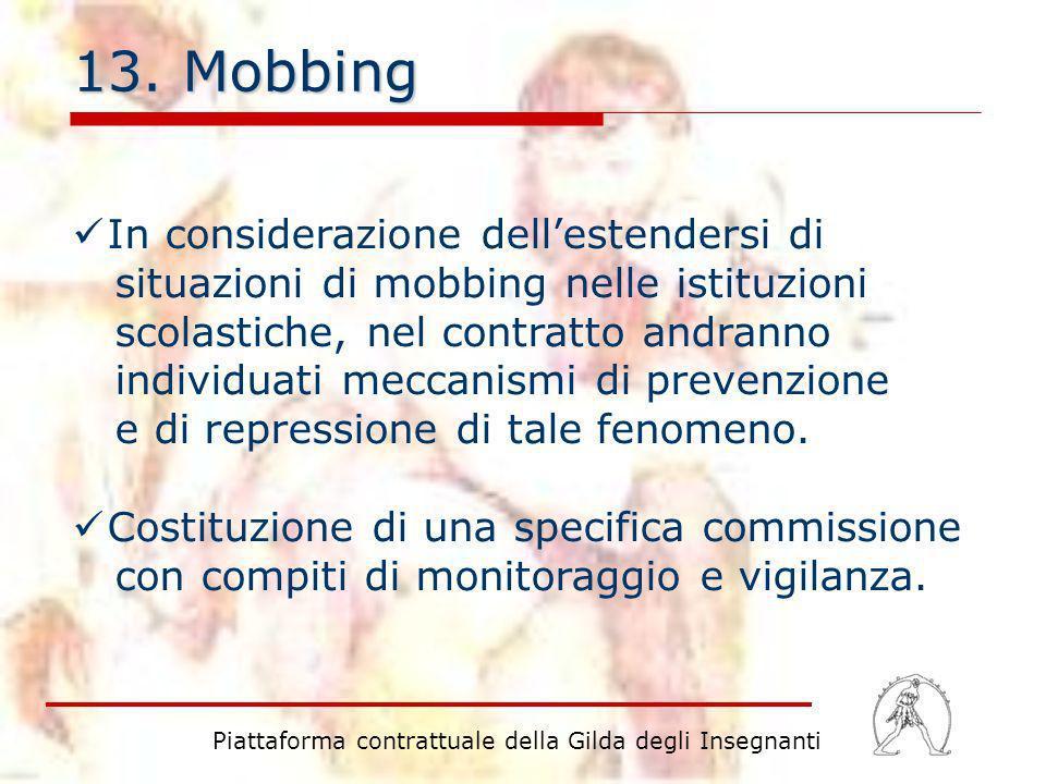 13. Mobbing In considerazione dellestendersi di situazioni di mobbing nelle istituzioni scolastiche, nel contratto andranno individuati meccanismi di