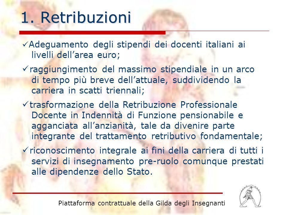 1. Retribuzioni Piattaforma contrattuale della Gilda degli Insegnanti Adeguamento degli stipendi dei docenti italiani ai livelli dellarea euro; raggiu