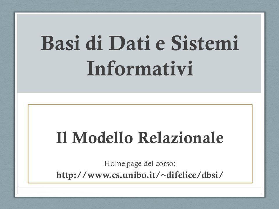 Basi di Dati e Sistemi Informativi Il Modello Relazionale Home page del corso: http://www.cs.unibo.it/~difelice/dbsi/