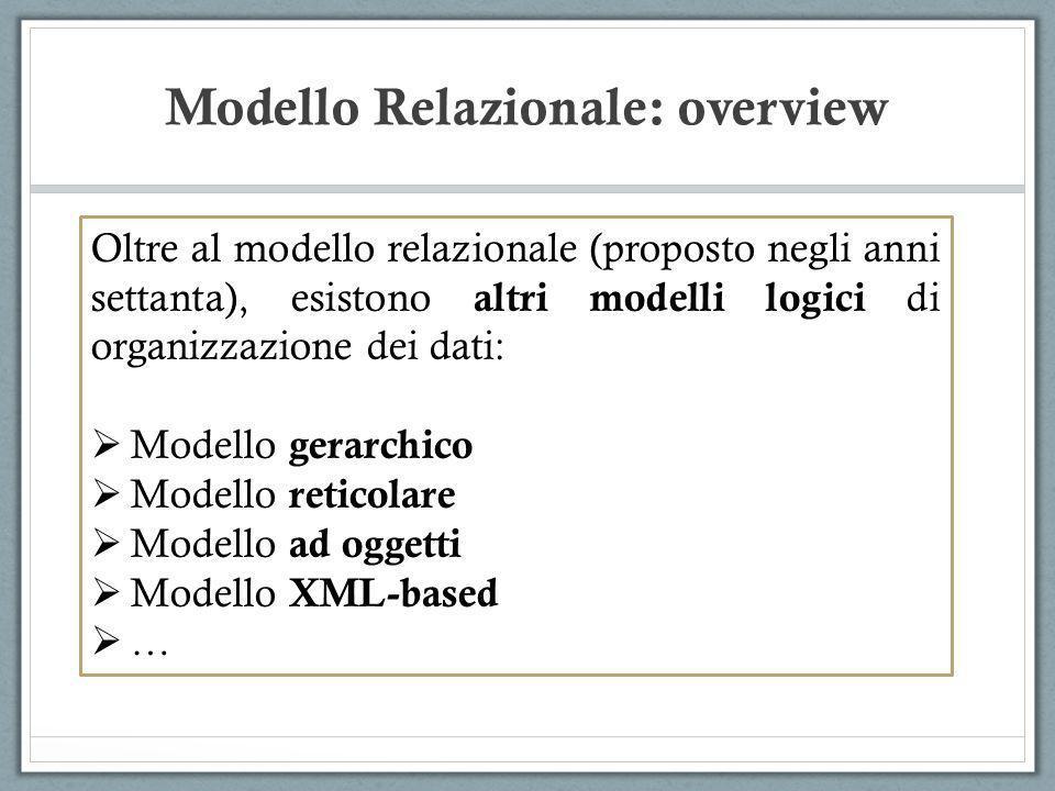 Modello Relazionale: overview Oltre al modello relazionale (proposto negli anni settanta), esistono altri modelli logici di organizzazione dei dati: M