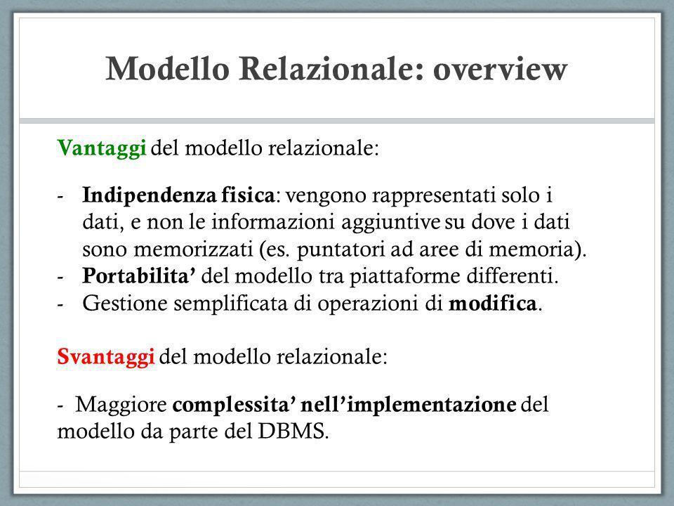 Modello Relazionale: overview Vantaggi del modello relazionale: - Indipendenza fisica : vengono rappresentati solo i dati, e non le informazioni aggiu