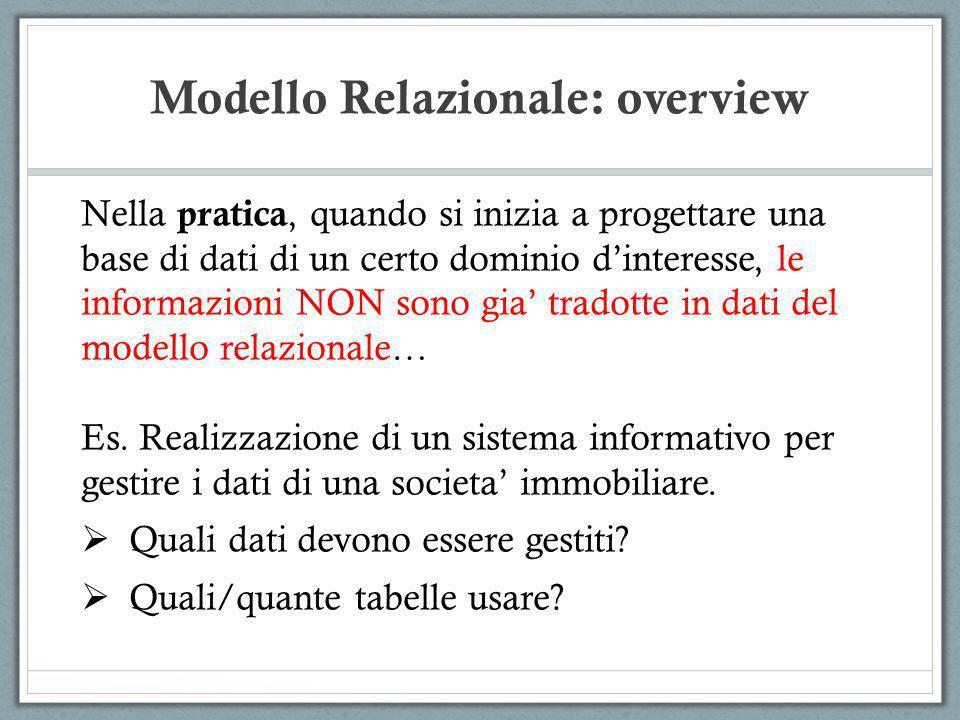 Modello Relazionale: overview Nella pratica, quando si inizia a progettare una base di dati di un certo dominio dinteresse, le informazioni NON sono g