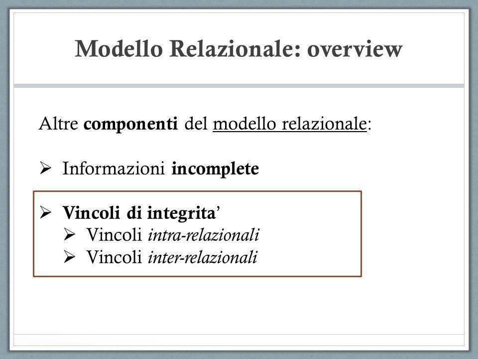 Modello Relazionale: overview Altre componenti del modello relazionale: Informazioni incomplete Vincoli di integrita Vincoli intra-relazionali Vincoli