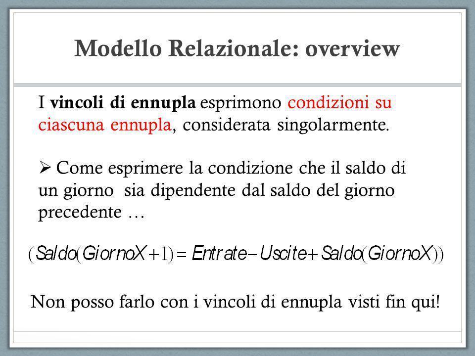 Modello Relazionale: overview I vincoli di ennupla esprimono condizioni su ciascuna ennupla, considerata singolarmente. Come esprimere la condizione c