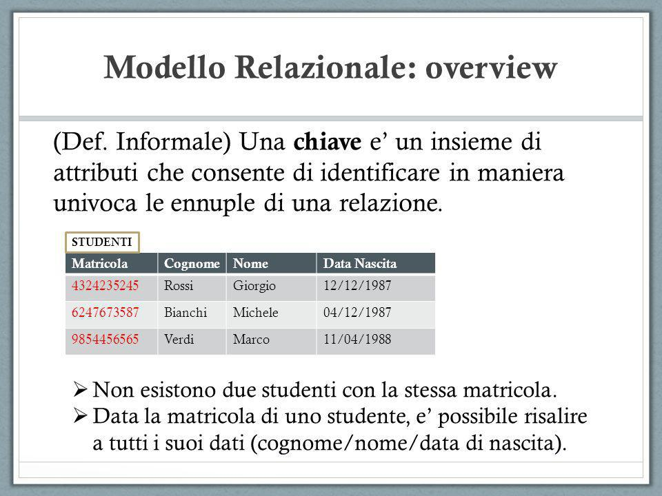 Modello Relazionale: overview (Def. Informale) Una chiave e un insieme di attributi che consente di identificare in maniera univoca le ennuple di una