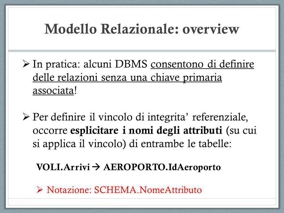 Modello Relazionale: overview In pratica: alcuni DBMS consentono di definire delle relazioni senza una chiave primaria associata! Per definire il vinc