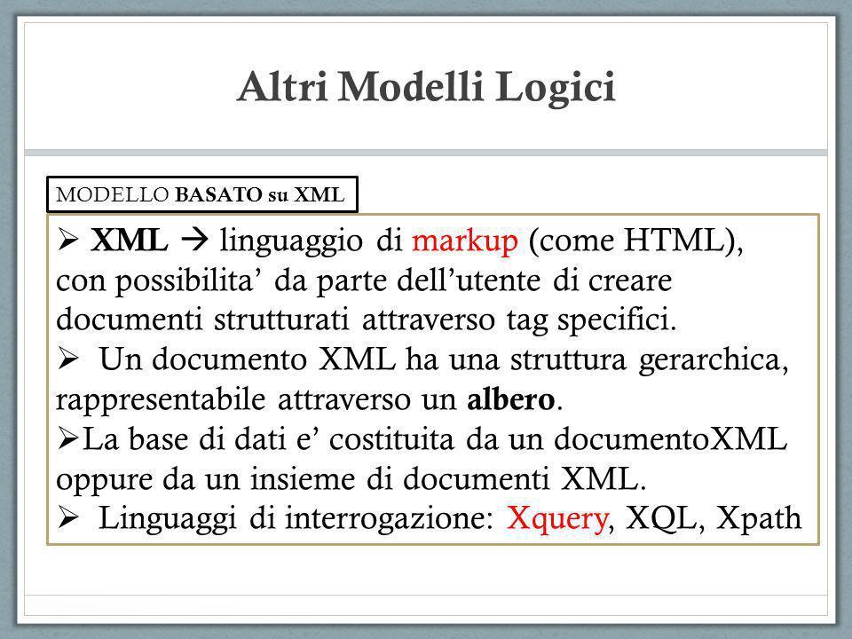 XML linguaggio di markup (come HTML), con possibilita da parte dellutente di creare documenti strutturati attraverso tag specifici. Un documento XML h