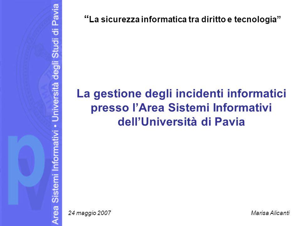 La gestione degli incidenti informatici presso lArea Sistemi Informativi dellUniversità di Pavia La sicurezza informatica tra diritto e tecnologia 24