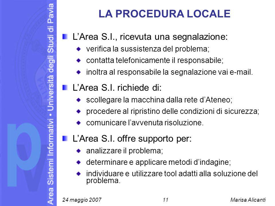 LA PROCEDURA LOCALE LArea S.I., ricevuta una segnalazione: verifica la sussistenza del problema; contatta telefonicamente il responsabile; inoltra al
