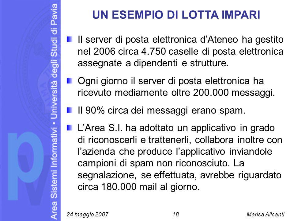 UN ESEMPIO DI LOTTA IMPARI Il server di posta elettronica dAteneo ha gestito nel 2006 circa 4.750 caselle di posta elettronica assegnate a dipendenti