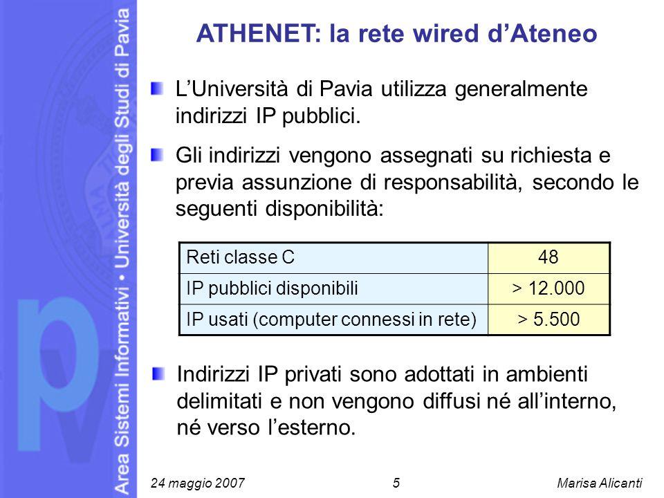 ATHENET: la rete wired dAteneo LUniversità di Pavia utilizza generalmente indirizzi IP pubblici. Gli indirizzi vengono assegnati su richiesta e previa