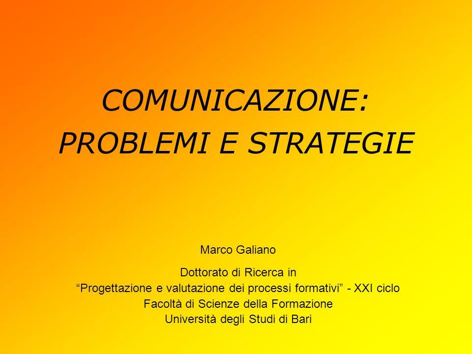 COMUNICAZIONE: PROBLEMI E STRATEGIE Marco Galiano Dottorato di Ricerca in Progettazione e valutazione dei processi formativi - XXI ciclo Facoltà di Scienze della Formazione Università degli Studi di Bari