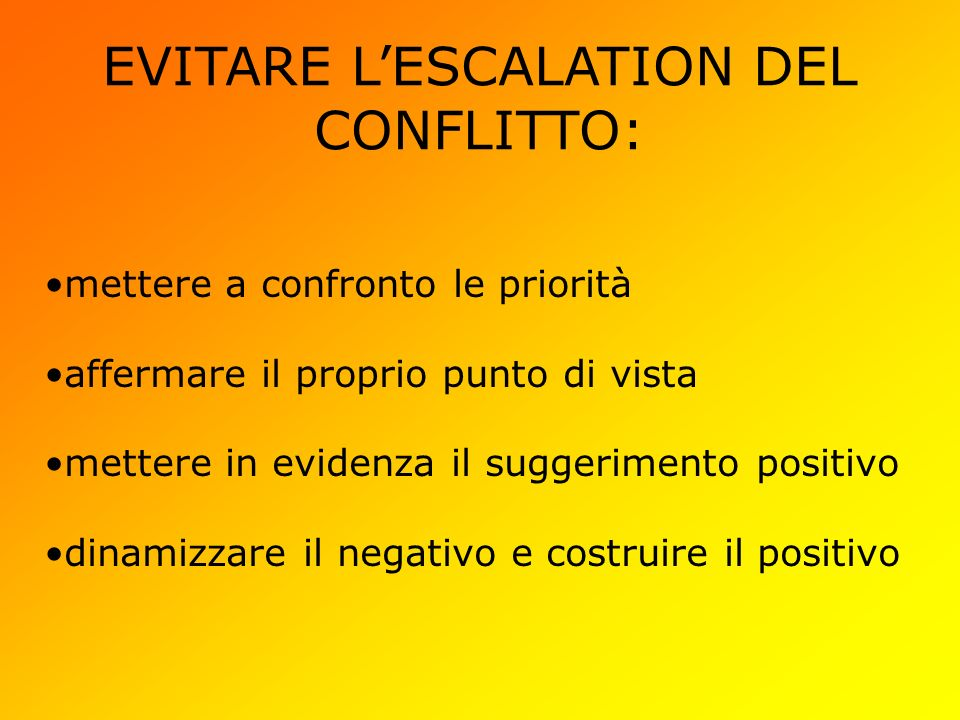 EVITARE LESCALATION DEL CONFLITTO: mettere a confronto le priorità affermare il proprio punto di vista mettere in evidenza il suggerimento positivo dinamizzare il negativo e costruire il positivo