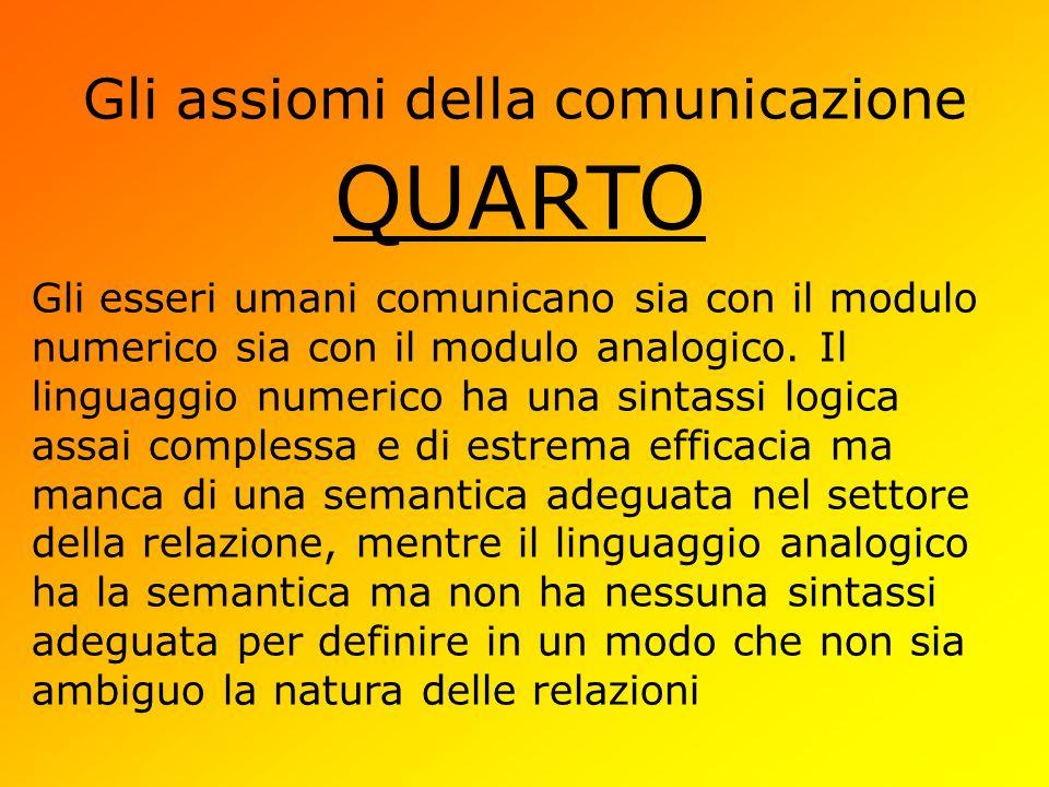 Gli assiomi della comunicazione QUARTO Gli esseri umani comunicano sia con il modulo numerico sia con il modulo analogico. Il linguaggio numerico ha u