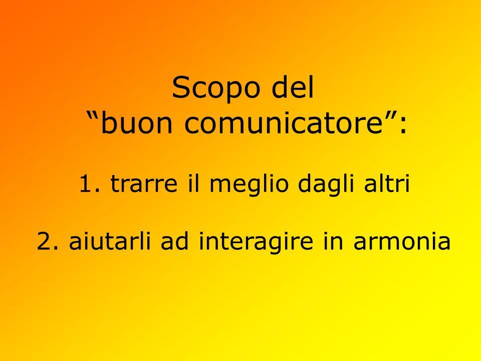 Scopo del buon comunicatore: 1. trarre il meglio dagli altri 2. aiutarli ad interagire in armonia
