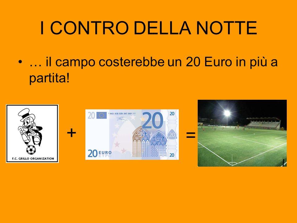 I CONTRO DELLA NOTTE … il campo costerebbe un 20 Euro in più a partita! + =