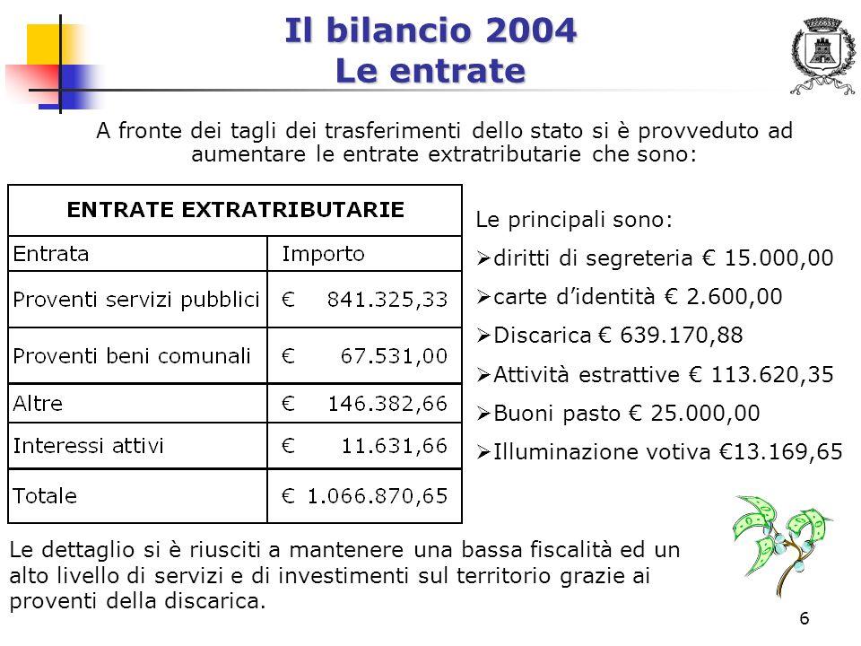 7 Il bilancio 2004 Le spese correnti Come saranno spese le entrate correnti raccolte?